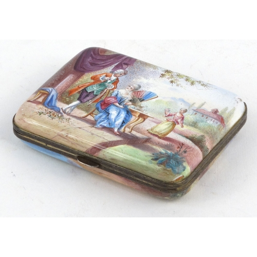 34 - Enamel trinket box hand painted with lovers scenes and with chased gilt silver metal edges, 18cm x 6...