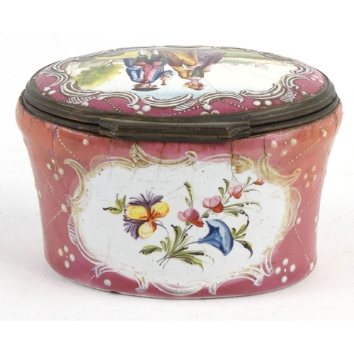 33 - Enamel trinket box with gilt metal mounts decorated with a lady and gentleman and floral panels, 4.5...
