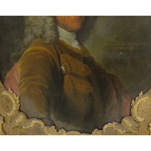 1124 - Oil onto canvas portrait of Richard Viscount Cobham 1756, mounted in a gilt wood frame, 110cm x 82cm...