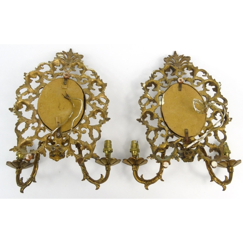 13 - Pair of Victorian gilt brass girondelle mirrors with floral scrolls  each 35cm high...