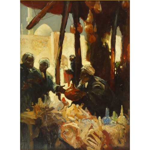 1117 - Hal Hurst - Oil onto panel of Middle Eastern gentlemen in a bazaar, mounted and framed, 36cm x 26cm ...