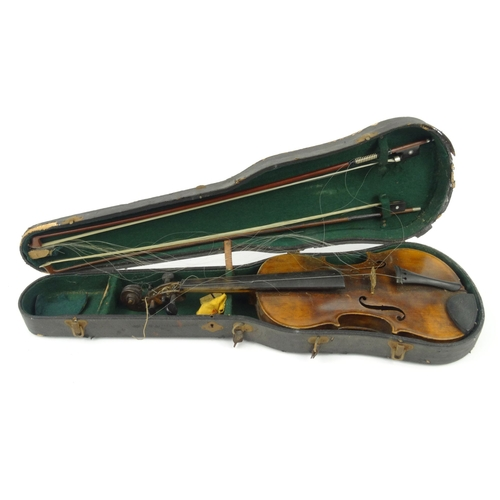 289 - Old wooden cased violin with two bows and paper label for N. Lupotluthier de la Musique de Roi et de...