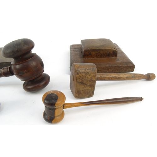 50 - Assorted wooden Masonic gavels and blocks, the largest 24cm long...