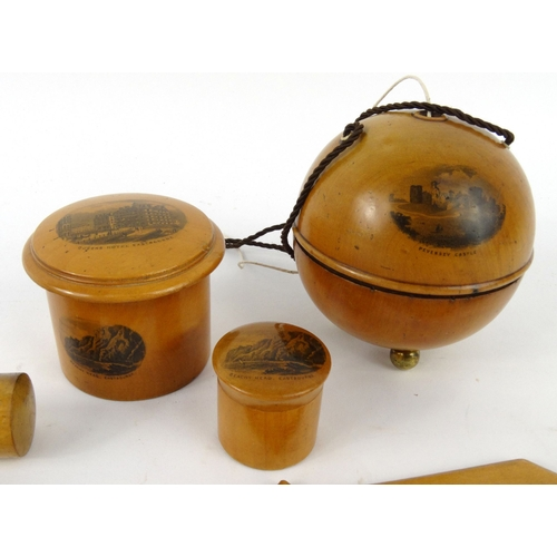 53 - Selection of wooden Mauchlin ware including sewing items, letter openers, string box, etc, the large...