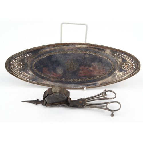47 - Early sheffield plated candle snuffer on tray, 26cm diameter...