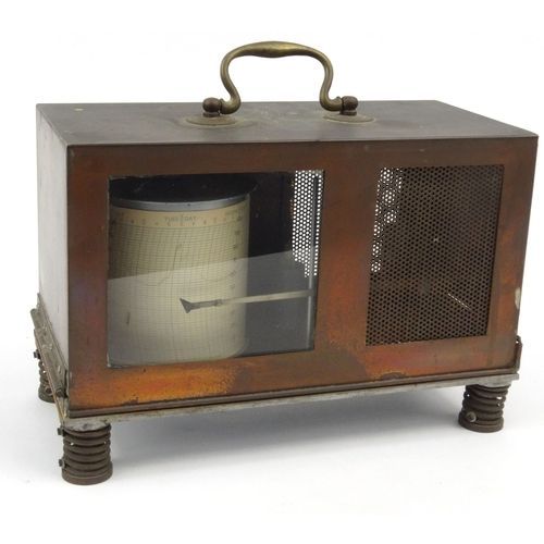 23 - Coppered tinplate barograph, serial number 5490, 18cm high...