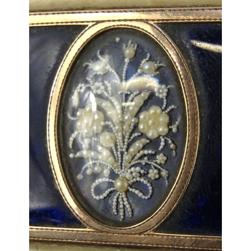 35 - Georgian ivory gilt metal box with mirrored interior and floral panelled top, 9.5cm wide...