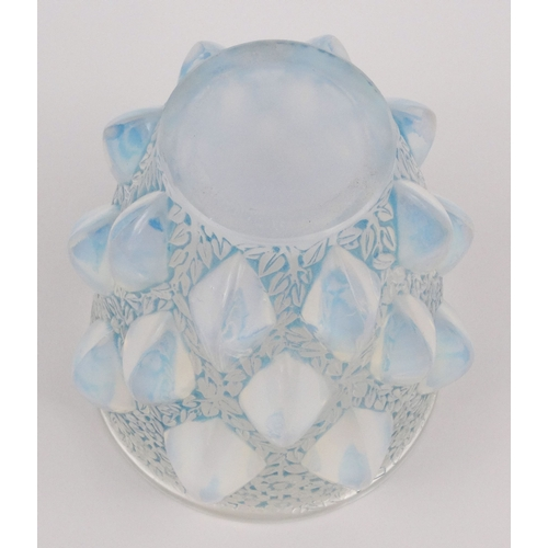 770 - Lalique Rampillion opalescent blue stained glass vase, etched Lalique mark to base, 12.5cm high...
