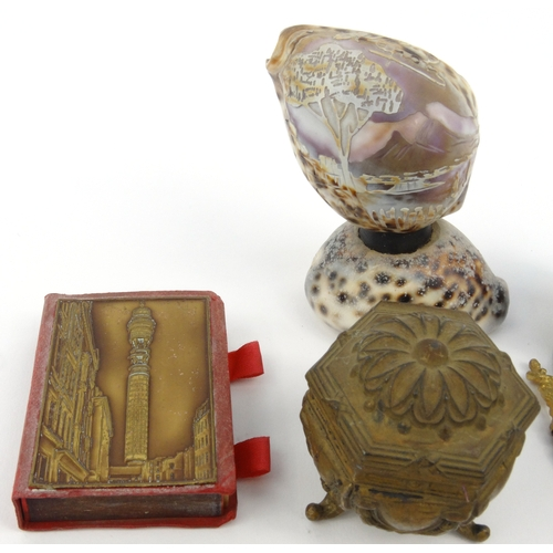 58 - Smoking interest wooden Queen Victoria pipe, Continental pipe, Napoli shell paperweight, micromosaic...