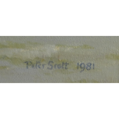 1313 - Peter Scott - Misty Morning - Oil onto canvas, signed and dated 1981, stamp to the reverse, mounted ...