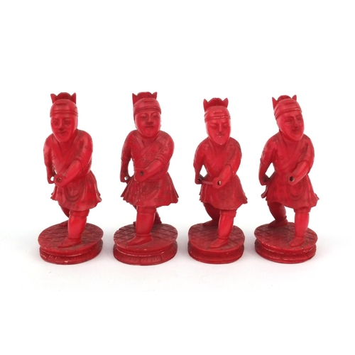 603 - Impressive Oriental ivory Napoleon chess set carved with European and Chinese figures, the largest p...