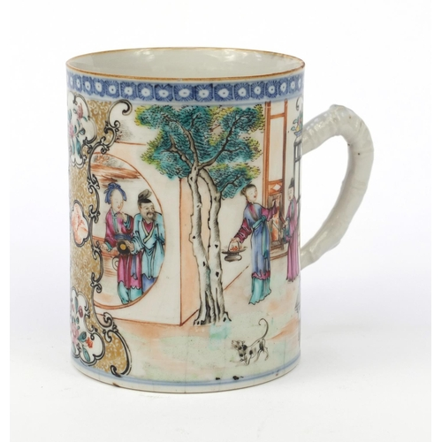 578 - Oriental Chinese porcelain mug hand painted with figures, 12cm high...