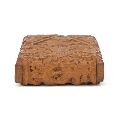 30 - Wooden floral carved card case, 9cm x 6cm