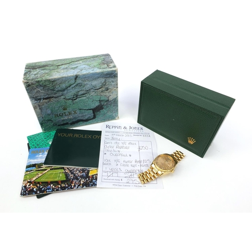 1174 - 18ct gold Rolex Oyster Perpetual Day-Date chronometer gentleman's wristwatch - automatic, numbered 1...