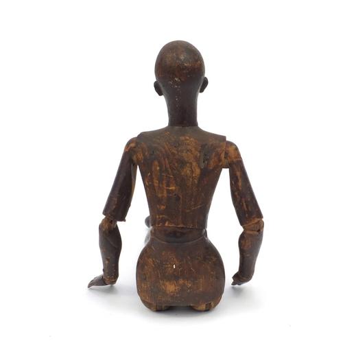 31 - Victorian wooden articulate artist's lay figure mannequin, 52cm high...