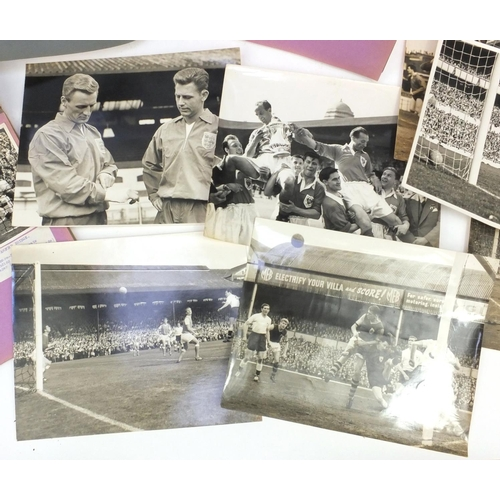 204 - Collection of unpublished black and white press photographs of football teams and matches including ...