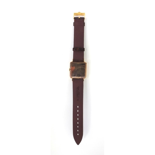 1175 - Rolex square Art Deco gold wristwatch with eagle head stamped marks to the case, approximately 3cm s...