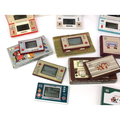 2620 - Collection of Game and Watch multi screen consoles, including some boxed examples - Snoopy, Zelda, S...