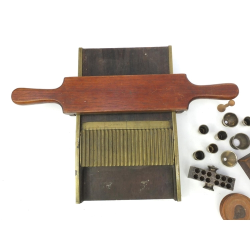 46 - Group of pharmaceutical items including S.Maw.Son & Sons mahogany and brass pill maker, suppository ...
