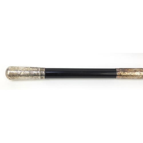 358 - Ebonised conductors baton with chased silver mounts, housed in a fitted Boosey & Co London case, the...