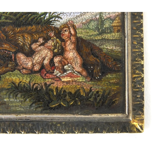 32 - 19th century rectangular Roman micromosaic panel depicting Romulus and Remus suckling the she-wolf, ...