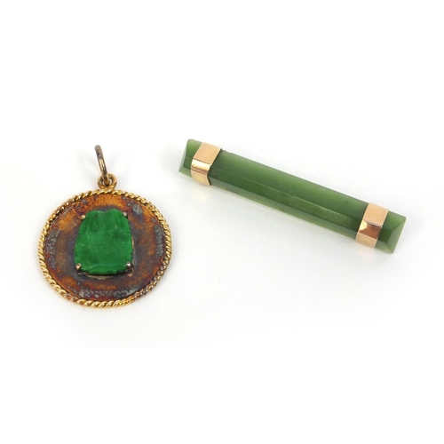 524 - Chinese unmarked gold green jade pendant and bar brooch, the brooch 4.5cm long, approximate weight 8...