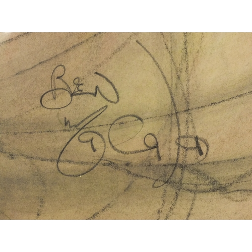 1035 - Surrealist pencil sketch of two faces, signed Ben, mounted and framed, 87cm x 60cm excluding the mou...
