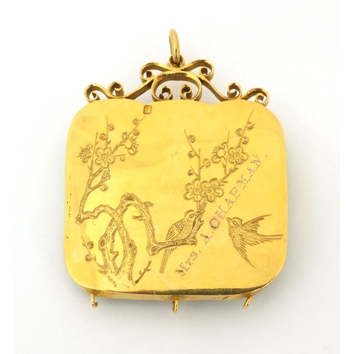 515 - 19th century Chinese carved green jade panel of a water dragon, mounted in an 18ct gold pendant sett...