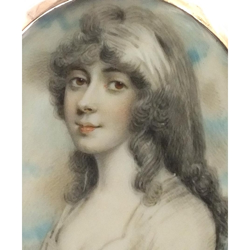 2 - 19th century oval portrait miniature of a lady wearing a white dress onto ivory, housed in an unmark...