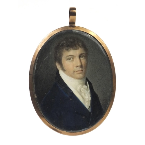 5 - 19th century oval portrait miniature of a gentleman wearing a blue coat onto ivory, possibly signed ...