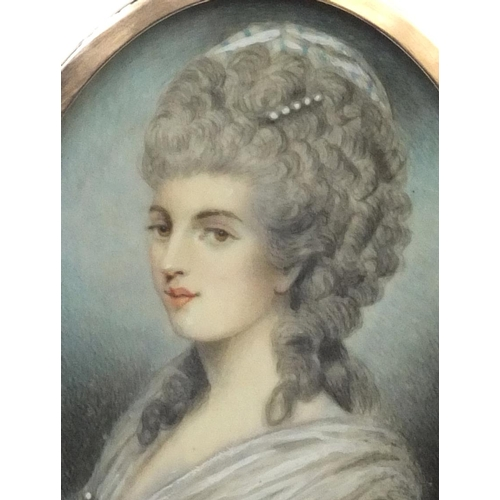 4 - 19th century oval portrait miniature of a lady wearing a white dress onto ivory, housed in an unmark...