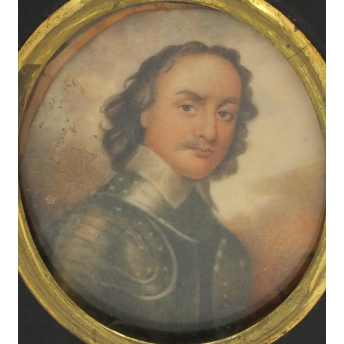 14 - 19th century oval portrait miniature of a soldier in uniform onto ivory, housed in an ebonised frame...
