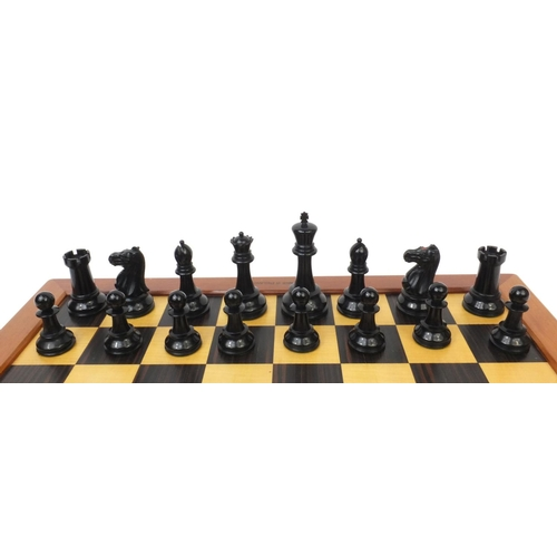 407 - Jaques & Sons Staunton boxwood chess set together with a Jaques mahogany framed satin and rosewood c...