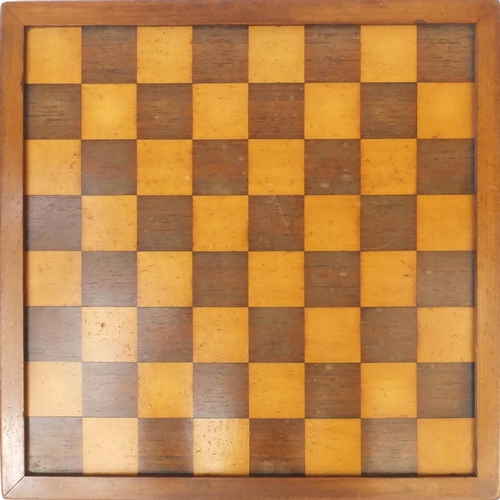 408 - Jaques & Sons Staunton boxwood chess set together with a mahogany framed satin and rosewood chess bo...