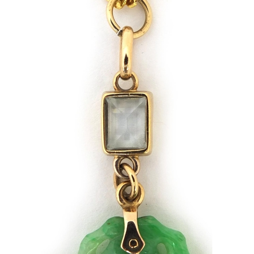 516 - Chinese carved green jade and aquamarine pendant on an 18ct gold necklace, the pendant 7.5cm long, a...