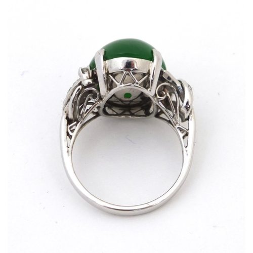 523 - Chinese green jade and diamond ring size K, approximate weight 6.3g...