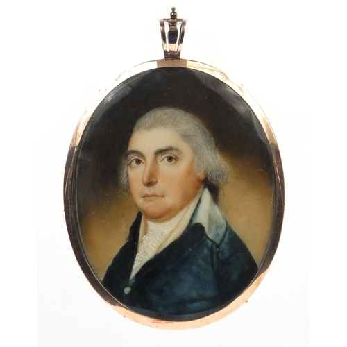 1 - 19th century oval portrait miniature of a gentleman wearing a blue coat onto ivory, housed in an unm...