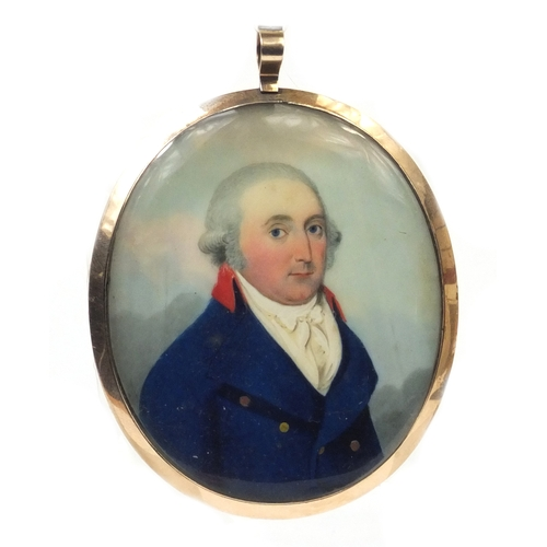 3 - 19th century oval portrait miniature of a gentleman wearing a blue coat onto ivory, housed in an unm...