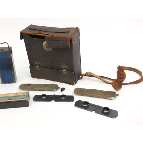 201 - Verascope stereoscope camera with Verascope magazine, supplementary Verascope lenses and leather cas...