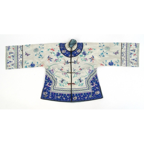 579 - Chinese silk kimono embroidered with phoenixes, butterflies and flowers, 60cm high...