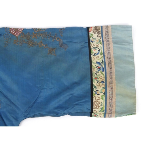 577 - Chinese silk Kimono profusely embroidered with roundels of birds of paradise, phoenixes, flowers and...