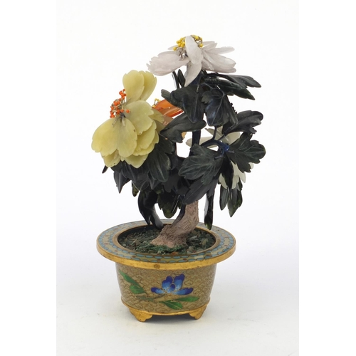 576 - Chinese cloisonné pot with hardstone bonze tree, 16cm high...