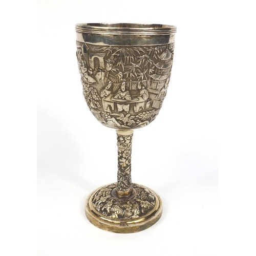 797 - Chinese silver Masonic interest goblet profusely embossed with figures, pagodas and trees, with engr...