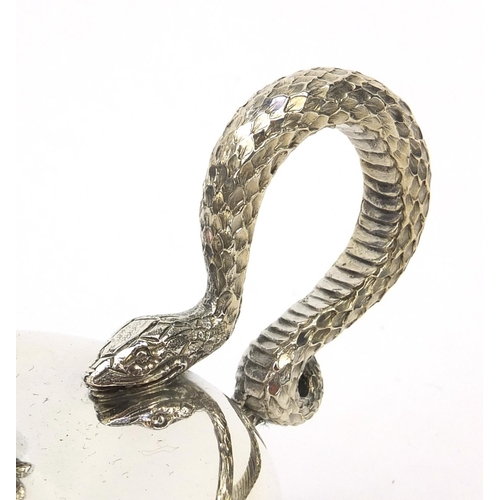 326 - Mappin & Webb silver genie lamp table lighter with serpent handle, London 1937, 16cm long, approxima...