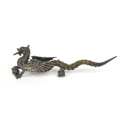 327 - Dragon of Wantley novelty silver plated and horn table lighter by Walker and Hall, 50cm long...