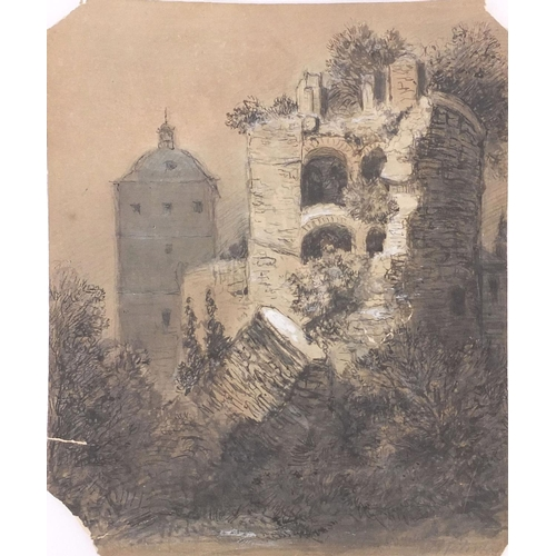 1497 - Ernest Albert Waterlow - Unframed ink and watercolour onto paper study of ruins, inscription to reve...