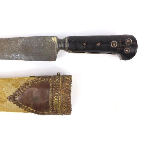 332 - 18th century Islamic knife with ebonised handle and sheath, 46cm long...
