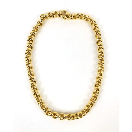 741 - Cesa 18ct gold large belcher link necklace, No.1115 to the clasp, 42cm long, approximate weight 48.6...