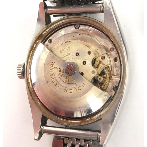 842 - Vintage gentleman's stainless steel Rolex Oyster perpetual precision, wristwatch with luminous dial ...