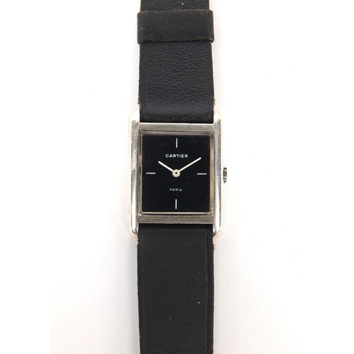 841 - Gentleman's Cartier silver square faced wristwatch with black dial...